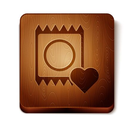 Brown Condom in package icon isolated on white background. Safe love symbol. Contraceptive method for male. Wooden square button. Vector Illustration Illustration