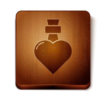 Brown Bottle with love potion icon isolated on white background. Valentines day symbol. Wooden square button. Vector Illustration