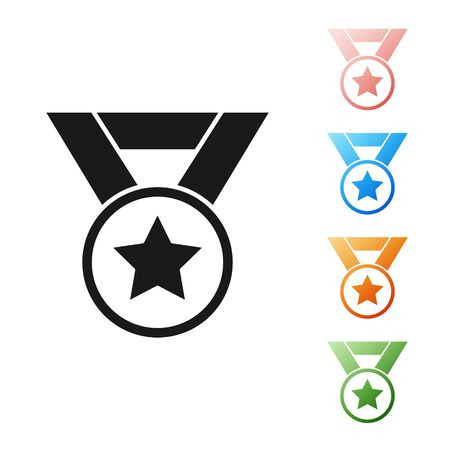 Black Medal icon isolated on white background. Winner symbol. Set icons colorful. Vector Illustration