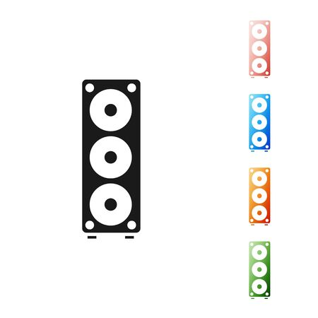 Black Stereo speaker icon isolated on white background. Sound system speakers. Music icon. Musical column speaker bass equipment. Set icons colorful. Vector Illustration