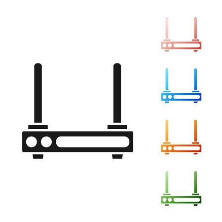 Black Router and wifi signal symbol icon isolated on white background. Wireless modem router. Computer technology internet. Set icons colorful. Vector Illustration