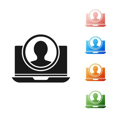 Black Create account screen icon isolated on white background. Set icons colorful. Vector Illustration