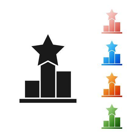 Black Star icon isolated on white background. Favorite, score, best rating, award symbol. Set icons colorful. Vector Illustration Ilustrace