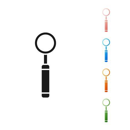 Black Dental inspection mirror icon isolated on white background. Tool dental checkup. Set icons colorful. Vector Illustration Ilustração