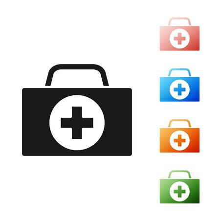 Black First aid kit icon isolated on white background. Medical box with cross. Medical equipment for emergency. Healthcare concept. Set icons colorful. Vector Illustration