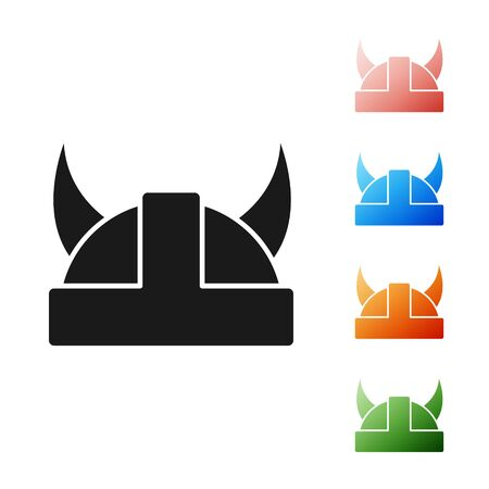 Black Viking in horned helmet icon isolated on white background. Set icons colorful. Vector Illustration