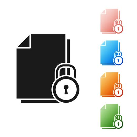 Black Document and lock icon isolated on white background. File format and padlock. Security, safety, protection concept. Set icons colorful. Vector Illustration