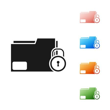 Black Folder and lock icon isolated on white background. Closed folder and padlock. Security, safety, protection concept. Set icons colorful. Vector Illustration Ilustração