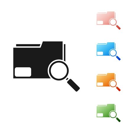 Black Search concept with folder icon isolated on white background. Magnifying glass and document. Data and information sign. Set icons colorful. Vector Illustration