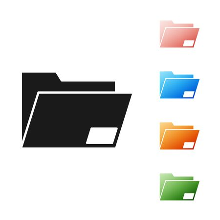 Black Document folder icon isolated on white background. Accounting binder symbol. Bookkeeping management. Set icons colorful. Vector Illustration Ilustração