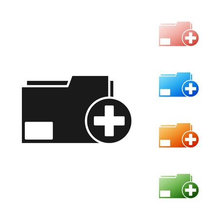 Black Add new folder icon isolated on white background. New folder file. Copy document icon. Add attach create folder make new plus. Set icons colorful. Vector Illustration