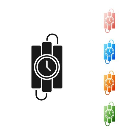 Black Detonate dynamite bomb stick and timer clock icon isolated on white background. Time bomb - explosion danger concept. Set icons colorful. Vector Illustration Ilustração