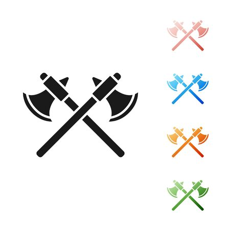Black Crossed medieval axes icon isolated on white background. Battle axe, executioner axe. Set icons colorful. Vector Illustration Illustration