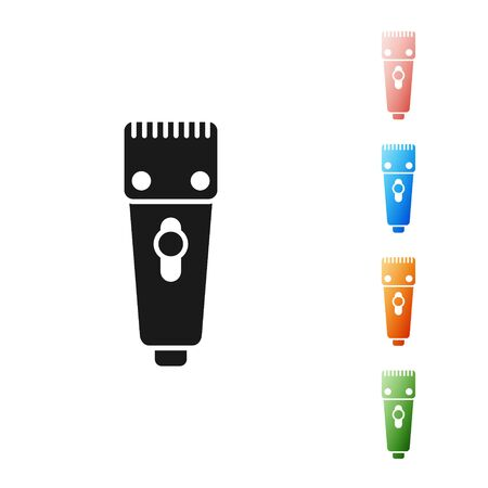 Black Electrical hair clipper or shaver icon isolated on white background. Barbershop symbol. Set icons colorful. Vector Illustration