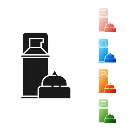 Black Shaving gel foam icon isolated on white background. Shaving cream. Set icons colorful. Vector Illustration