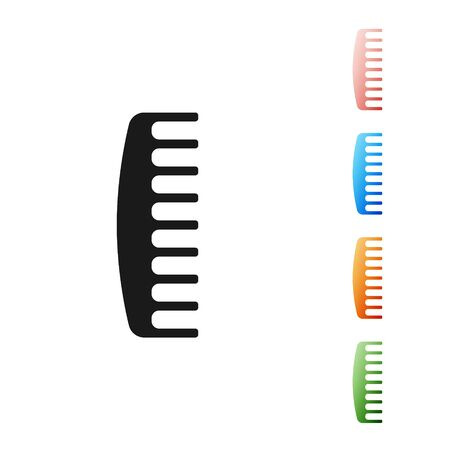 Black Hairbrush icon isolated on white background. Comb hair sign. Barber symbol. Set icons colorful. Vector Illustration 向量圖像