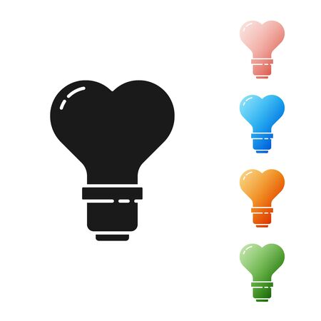 Black Heart shape in a light bulb icon isolated on white background. Love symbol. Valentine day symbol. Set icons colorful. Vector Illustration Illusztráció
