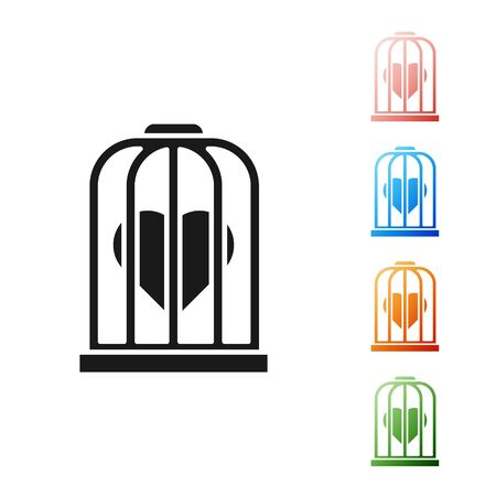 Black Heart in the bird cage icon isolated on white background. Love sign. Valentines symbol. Set icons colorful. Vector Illustration