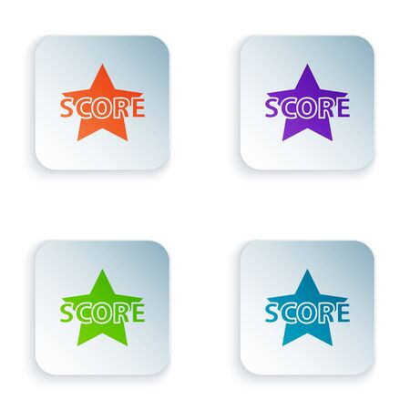 Color Star icon isolated on white background. Favorite, score, best rating, award symbol. Set icons in square buttons. Vector Illustration
