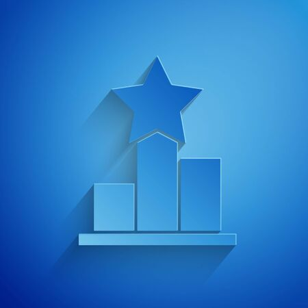Paper cut Star icon isolated on blue background. Favorite, score, best rating, award symbol. Paper art style. Vector Illustration