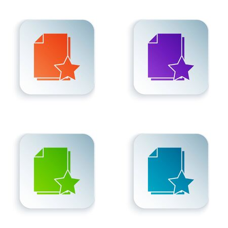 Color Document with star icon isolated on white background. Document best, favorite, rating symbol. Set icons in square buttons. Vector Illustration