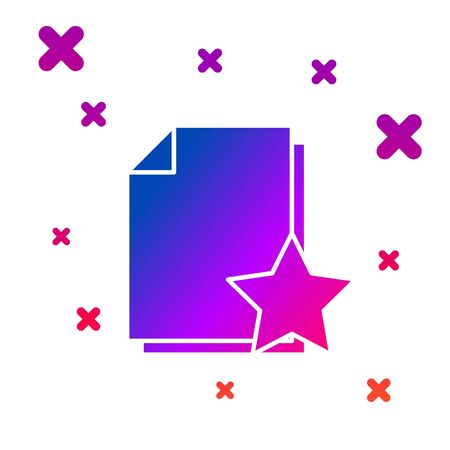 Color Document with star icon isolated on white background. Document best, favorite, rating symbol. Gradient random dynamic shapes. Vector Illustration