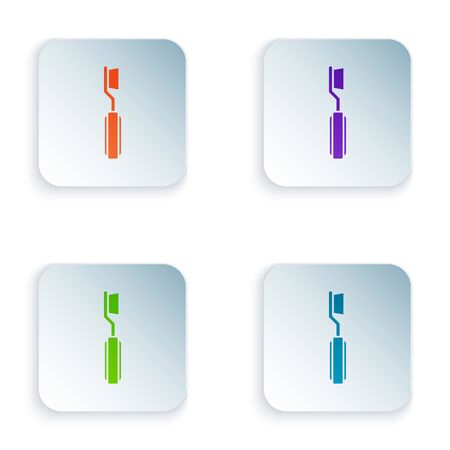 Color Toothbrush icon isolated on white background. Set icons in square buttons. Vector Illustration Vettoriali