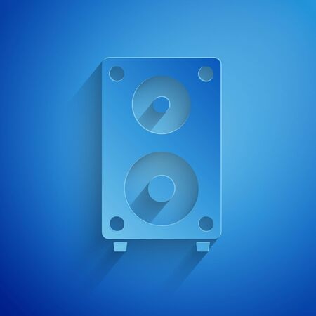 Paper cut Stereo speaker icon isolated on blue background. Sound system speakers. Music icon. Musical column speaker bass equipment. Paper art style. Vector Illustration 向量圖像