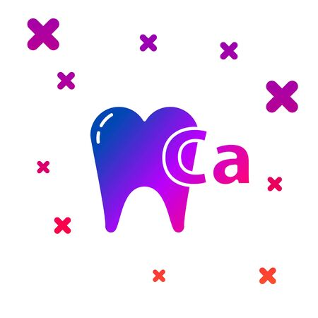 Color Calcium for tooth icon isolated on white background. Tooth symbol for dentistry clinic or dentist medical center. Gradient random dynamic shapes. Vector Illustration