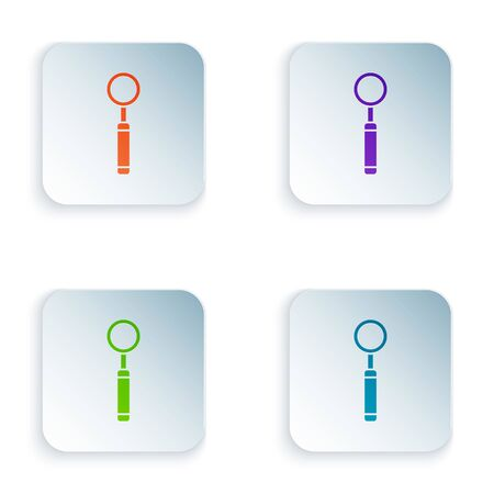 Color Dental inspection mirror icon isolated on white background. Tool dental checkup. Set icons in square buttons. Vector Illustration