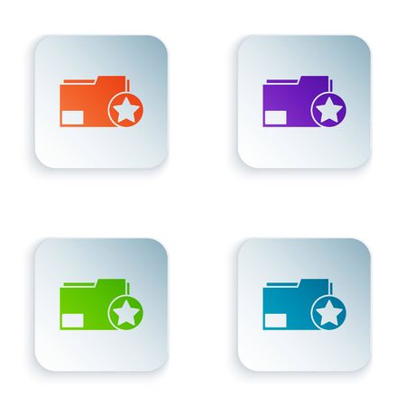 Color Document folder with star icon isolated on white background. Document best, favorite, rating symbol. Set icons in square buttons. Vector Illustration