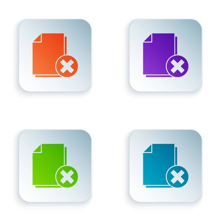 Color Delete file document icon isolated on white background. Rejected document icon. Cross on paper. Set icons in square buttons. Vector Illustration Stock Illustratie