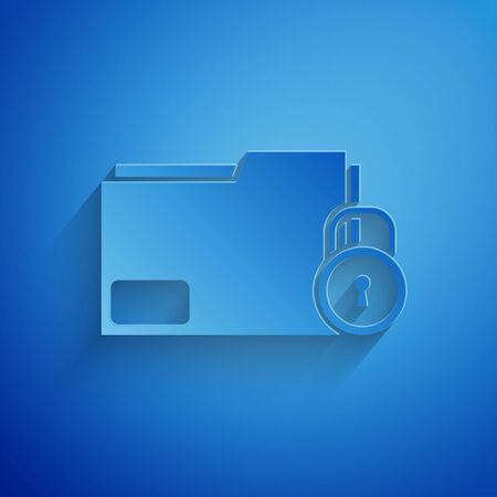 Paper cut Folder and lock icon isolated on blue background. Closed folder and padlock. Security, safety, protection concept. Paper art style. Vector Illustration Illusztráció