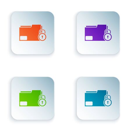 Color Folder and lock icon isolated on white background. Closed folder and padlock. Security, safety, protection concept. Set icons in square buttons. Vector Illustration