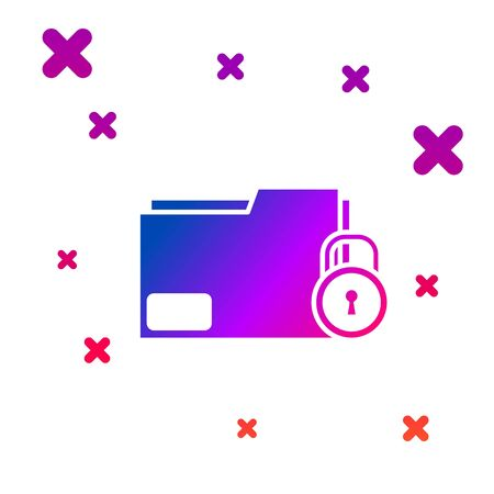 Color Folder and lock icon isolated on white background. Closed folder and padlock. Security, safety, protection concept. Gradient random dynamic shapes. Vector Illustration Ilustração