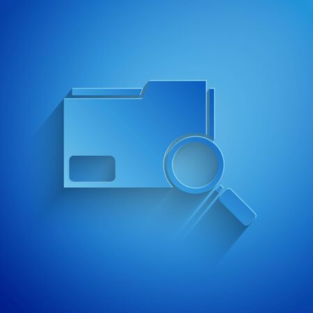 Paper cut Search concept with folder icon isolated on blue background. Magnifying glass and document. Data and information sign. Paper art style. Vector Illustration