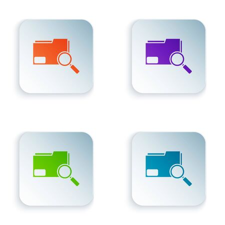 Color Search concept with folder icon isolated on white background. Magnifying glass and document. Data and information sign. Set icons in square buttons. Vector Illustration