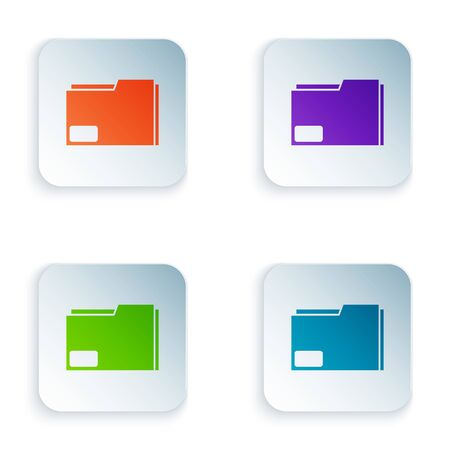 Color Document folder icon isolated on white background. Accounting binder symbol. Bookkeeping management. Set icons in square buttons. Vector Illustration
