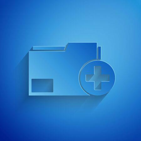 Paper cut Add new folder icon isolated on blue background. New folder file. Copy document icon. Add attach create folder make new plus. Paper art style. Vector Illustration Ilustração