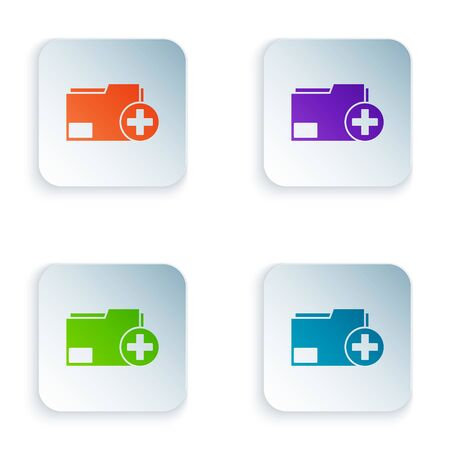 Color Add new folder icon isolated on white background. New folder file. Copy document icon. Add attach create folder make new plus. Set icons in square buttons. Vector Illustration