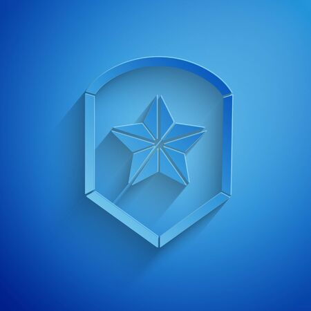 Paper cut Police badge icon isolated on blue background. Sheriff badge sign. Shield with star symbol. Paper art style. Vector Illustration