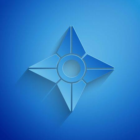 Paper cut Japanese ninja shuriken icon isolated on blue background. Paper art style. Vector Illustration Ilustração Vetorial