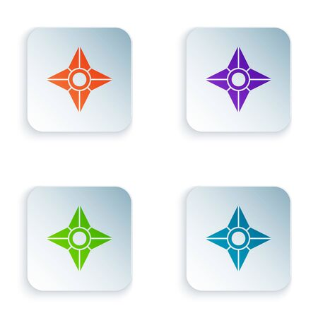 Color Japanese ninja shuriken icon isolated on white background. Set icons in square buttons. Vector Illustration Ilustração