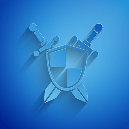 Paper cut Medieval shield with crossed swords icon isolated on blue background. Paper art style. Vector Illustration Vettoriali
