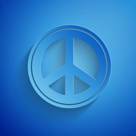 Paper cut Peace icon isolated on blue background. Hippie symbol of peace. Paper art style. Vector Illustration