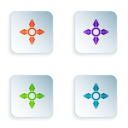 Color Japanese ninja shuriken icon isolated on white background. Set icons in square buttons. Vector Illustration