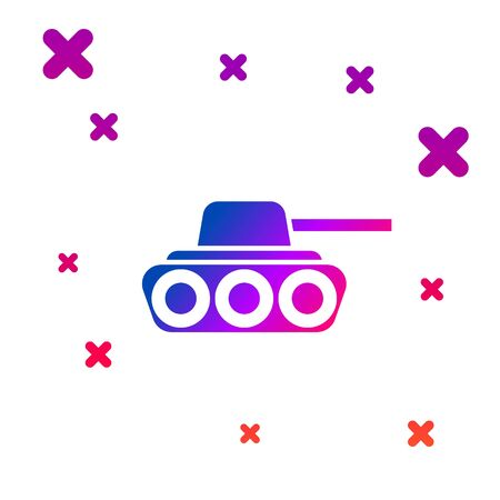 Color Military tank icon isolated on white background. Gradient random dynamic shapes. Vector Illustration