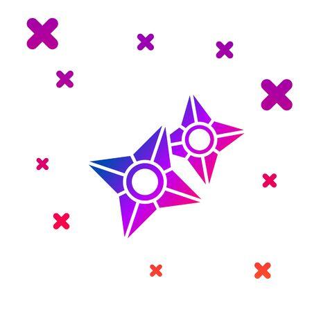 Color Japanese ninja shuriken icon isolated on white background. Gradient random dynamic shapes. Vector Illustration