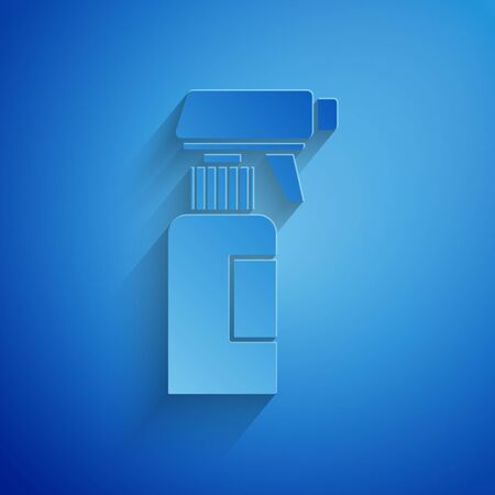 Paper cut Hairdresser pistol spray bottle with water icon isolated on blue background. Paper art style. Vector Illustration