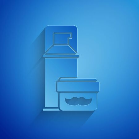 Paper cut Shaving gel foam icon isolated on blue background. Shaving cream. Paper art style. Vector Illustration Illustration